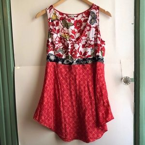 CABI 948 Red Floral Butterfly Sleeveless SILK Top